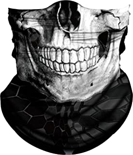 Obacle Skull Face Mask Half for Dust Wind UV Sun Protection Seamless 3D Tube Mask Bandana for Men Women Durable Thin Breathable Skeleton Mask Motorcycle Riding Biker Fishing Cycling Sports Festival