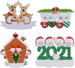 Hengyuan Ornement personnalisé d'arbre de Noël de Famille de Renne 2021, Pendentif de Noël de père Noël de Renne en résin...