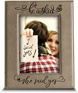 BELLA BUSTA-He Asked. She Said YES- Engagement Leather Photo Frame (5