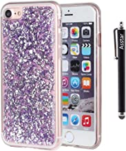 iPhone 7/ iPhone 8 Case, Asstar Fashion Creative Design Flowing Liquid Floating Luxury Bling Glitter Sparkle Diamond Soft TPU Case for Apple iPhone 7 (2016)/ iPhone 8 (2017) (Purple with Stylus)