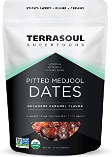 Terrasoul Superfoods Organic Pitted Medjool Dates, 1.5 Lbs - Pits Removed | Soft Chewy Texture | Sweet Cara...