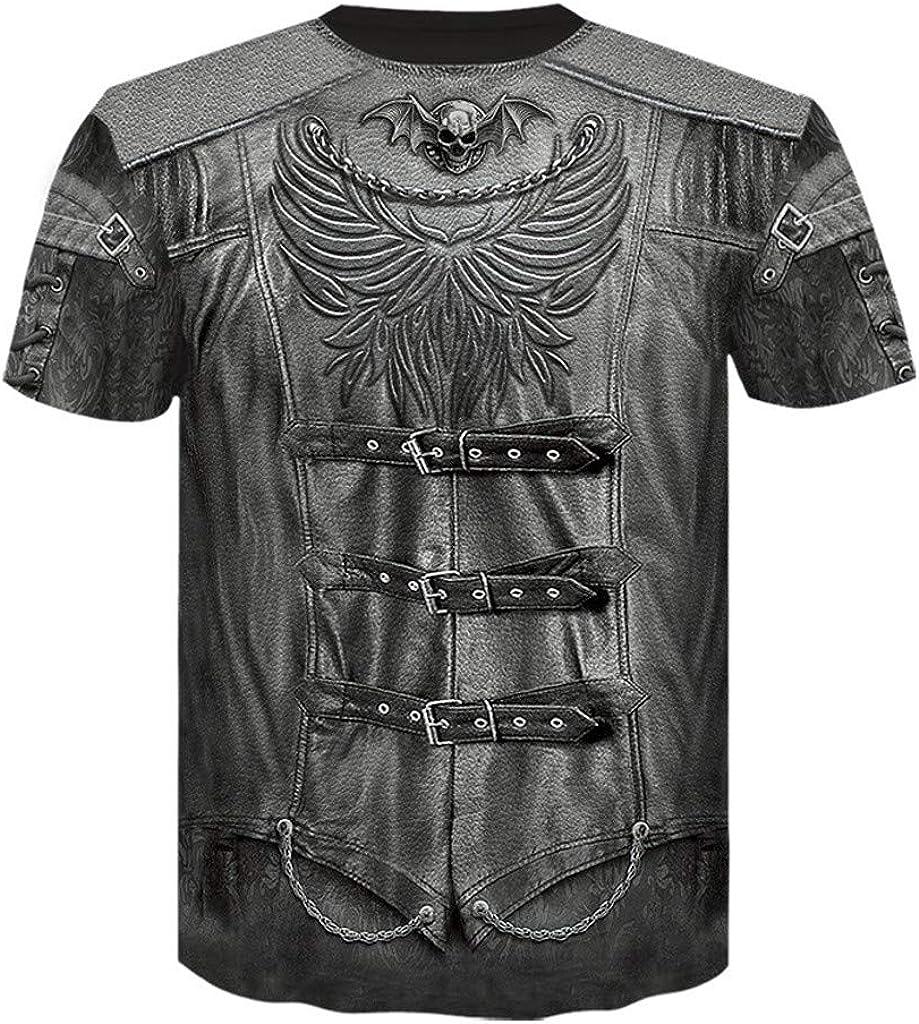 Gergeos Fashion T Shirt Men's Printed Funny Round Neck Tee Short Sleeves Casual Shirt