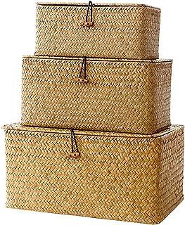 3pcs Seagrass De Stockage Paniers En Osier Tissé Stockage Bins Organisateur Polyvalent Conteneur Avec Couvercle Pour Le Ma...