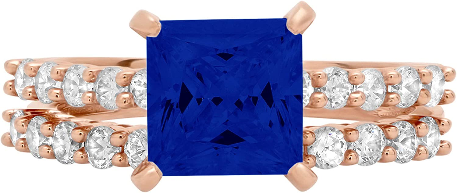 2.63ct Princess Cut Pave Solitaire with Accent Flawless VVS1 Simulated Blue Sapphire Designer Statement Classic Ring Band Set Solid 14k Rose Gold