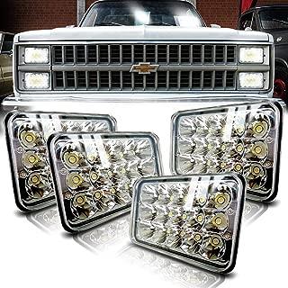 4X6 LED Headlights 4PCS 45W Sealed Beam Rectangular 4x6 inch LED Headlight Cree High/Low Beam Universal Headlamp Dot Replace H4651 H4652 H4656 H4666 H6545 H4668 H4642