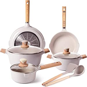 Cookware Set - VONIKI Pots and Pans Set Nonstick Cooking Pots and Pans Set with Lids, Ceramic Cookware Sets with Frying Pan, Stockpot and Saucepan, Induction Compatible Pans for Cooking 16 Pieces