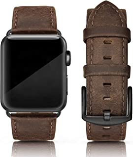 SWEES Leather Band Compatible for Apple Watch 42mm 44mm, Genuine Leather Vintage Strap Wristband Compatible iWatch Series 5, Series 4, Series 3, Series 2, Series 1, Sports & Edition Men, Retro Brown