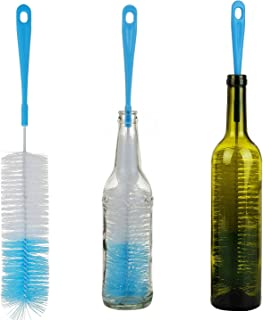 3-Pack Long Bottle Cleaning Brush for Narrow Neck Beer, Wine, Kombucha, Hydroflask, Thermos, S'well, Nalgene, Pitcher, Carafe, Brewing Bottle Cleaner, 16 Inches
