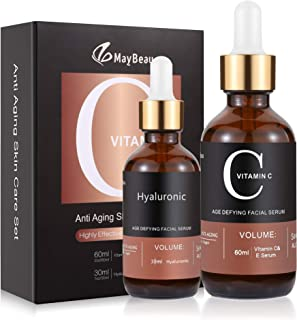 MayBeau 60 ml Vitamin C Serum + 30ml Hyaluronic Acid with Vitamin E 100% Pure and Organic AntiAging + Anti Wrinkle + Anti ...