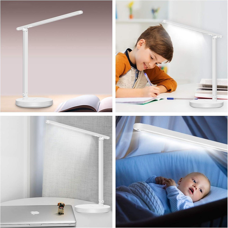 Augenfreundliche Tischlampe Nachttischlampe USB-Anschluss 630/° Rotieren mit Touchbedienung Lesen Augenschutz f/ür B/üro LED Dimmbare Schreibtischlampe 3 Farb und 7 Helligkeitsstufen Studieren