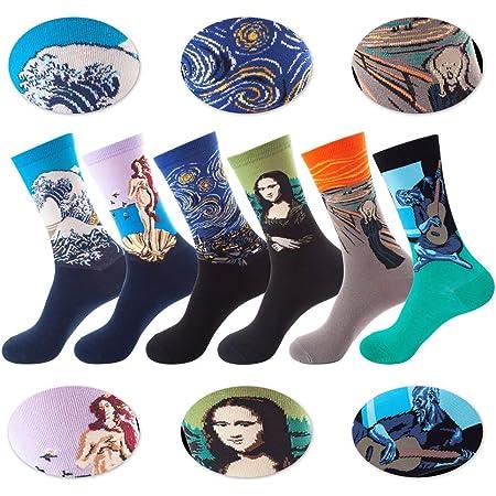 Detontek Calcetines Estampados Para Hombres, 6 Para Calcetines Coloridos Funky Arte Retro Pinturas Famosas Calcetines, Calcetines de Colores de Media Pantorrilla