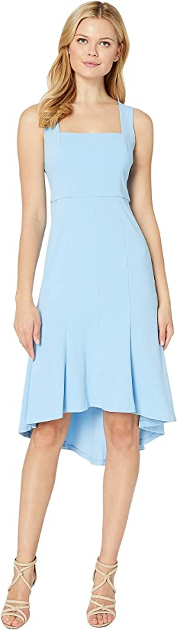 Sleeveless Square Neck Crepe Dress