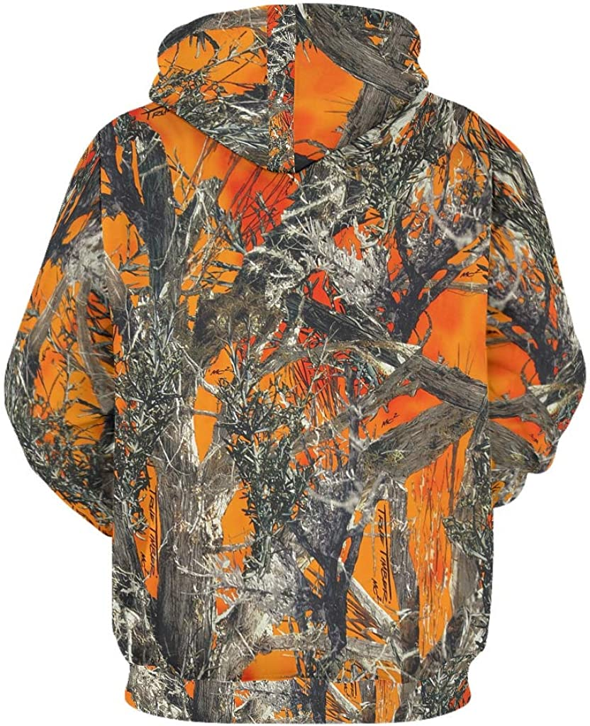 Chhome Womens Mens Pullover Hoodie Hooded Sweatshirt Orange Camo Hunter Skull 3D Printed Hooded with Pocket
