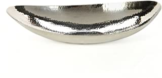 """Hosley 13.5"""" Hammered Stainless Steel Oval Bowl Ideal for Orbs, Dry Potpourri, Ball Candles, Weddings, Special Events, Cen..."""