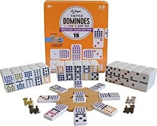 Regal Games Double 15 Colored Dot Dominoes Mexican Train Game Set with Wooden Hub, 136 Domino Tiles, 8 Metal Trains, and C...