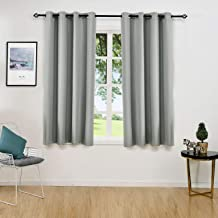 ALLBRIGHT Solid Thermal Insulated Grommet Blackout Curtains/Drapes for Bedroom Window (2 Panels, 52 x 63 Inch, Aluminum Grey/Slate)