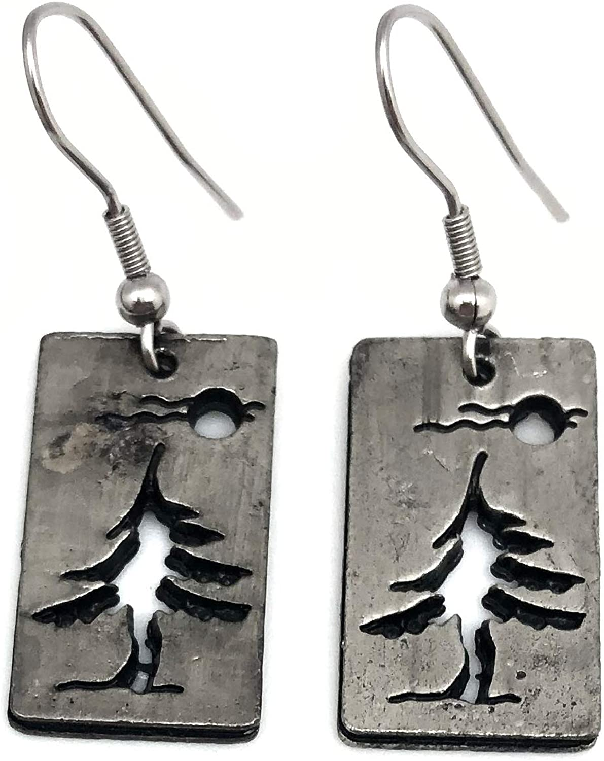 ANJU JEWELRY Pewter Pendant Earring - Pine Tree with Moon