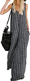 JINTING Striped Jumpsuit Rompers for Women Spaghetti Strap Sleeveless Wide Leg Long Pants Jumpsuit Romper with Pocket
