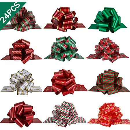 """PintreeLand 24PCS Christmas Wrap Pull Bows with Ribbon 5"""" Wide Wrapping Accessory for Xmas Present, Gift, Florist, Bouquet, Basket Decoration, Easy to Assemble"""