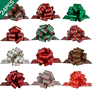 PintreeLand 24PCS Christmas Pull Bows Large Gift Bows Ribbon 40mm for Xmas Present Gift Wrapping, Christmas Decorations, Florist
