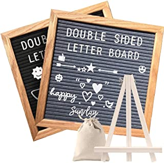Double Sided Felt Letter Board with Rustic Wood Frame,439 Precut White Letters,Months & Days & Script Cursive Words,Wall &...