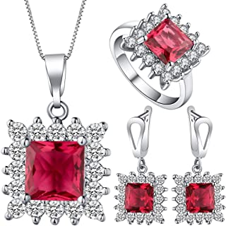VPbao Necklace Earrings Ring Jewellery Set Square Cubic Zirconia Sets Red