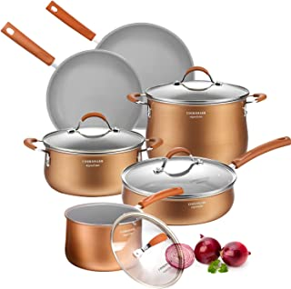 AMERICOOK, Copper Pots and Pans Set - 10 Piece Grey Ceramic Induction Cookware Set, Aluminium Pans and Pots Set with Sturdy Glass Lids and Non-Slip Stay-Cool Silicone Handles, Oven Safe