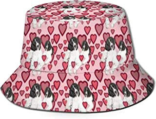 Hat Hearts and Landseer Newfoundland Dogs Sun Fisherman Cap Outdoor Hat UV Sun Protection Hat Foldable Lightweight Breathable Travel Cap Black