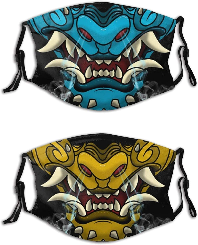 2PCS Samurai Oni Face Mask, Cool Oni Mask Reusable Washable Balaclavas for Women Men with 4 Filters