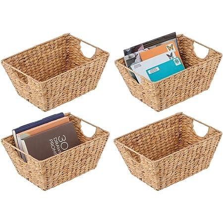 ba/ño o pasillo Organizador de estantes para dormitorio mDesign Juego de 2 cestas trenzadas con asas sal/ón Cestas organizadoras de jacinto de agua para accesorios del hogar color natural