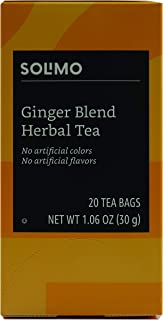Amazon Brand - Solimo Ginger Herbal Tea Bags, 20 Count