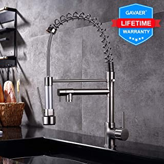 GAVAER Kitchen Faucet with Flexible Detachable Handheld Shower, Single Handle Kitchen Sink Faucet Made of Lead-Free Brushed Nickel Stainless Steel.