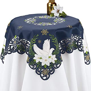 Collections Etc Navy Blue Religious Holiday Embroidered Table Linens with Doves, Poinsettias & Gold Snowflakes, Square