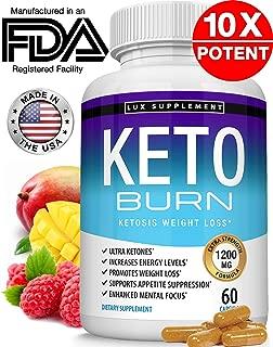 Keto Burn Pills Ketosis Weight Loss - 1200 Mg Ultra Advanced Natural Ketogenic Fat Burner Using Ketone Diet, Boost Energy Focus & Metabolism Appetite Suppressant, Men Women 60 Capsules, Lux Supplement