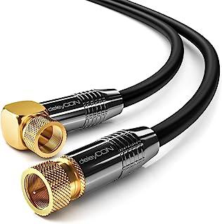deleyCON 1m SAT Antennenkabel Satellitenkabel Koaxialkabel - HDTV Full HD - F-Stecker 90° Grad Gewinkelt zu F-Stecker Gerade - Schwarz