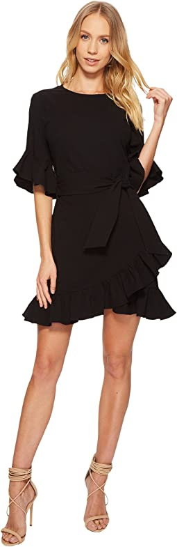 Asymmetrical Ruffled Edge Wrap Dress