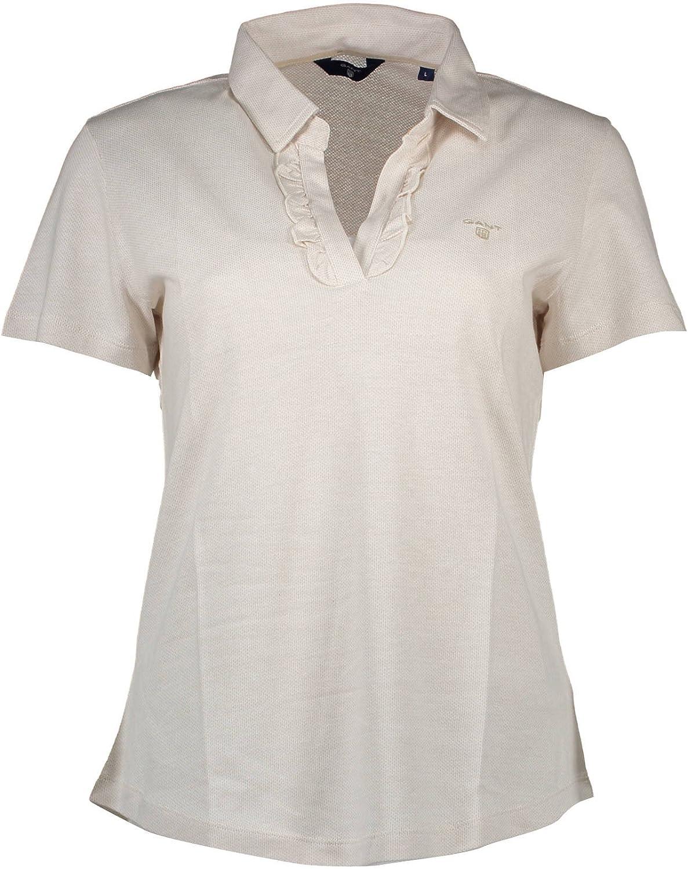Gant 1601.401217 Polo Shirt Short Sleeves Women Beige 115 XS