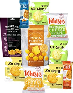 Keto Cheese Snacks Care Package Gift Box (10 Count) - Low Carb Snack - 1g Carbs or less -Ketogenic Friendly -Cello Whisps Cheese Crisps, Just The Cheese Bars, Moon Cheese, Bunker Hill -Variety Flavors