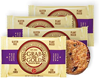 Vegan Snack Bars by Grab The Gold - Organic, Gluten Free, Vegan, Kosher, Dairy Free – 2.0 Oz – Peanut Butter & Jelly (4 Count)