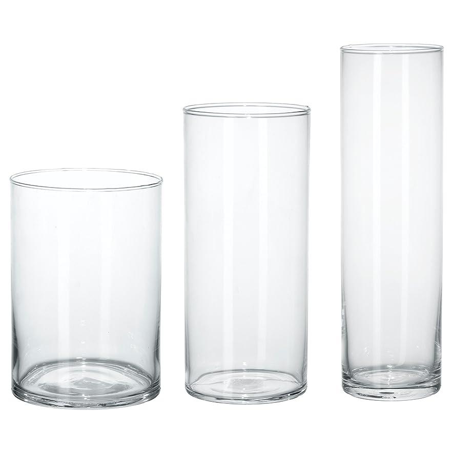 自分を引き上げる教義心配する★シリンデル / CYLINDER 花瓶3点セット / クリアガラス[イケア]IKEA(60175214)