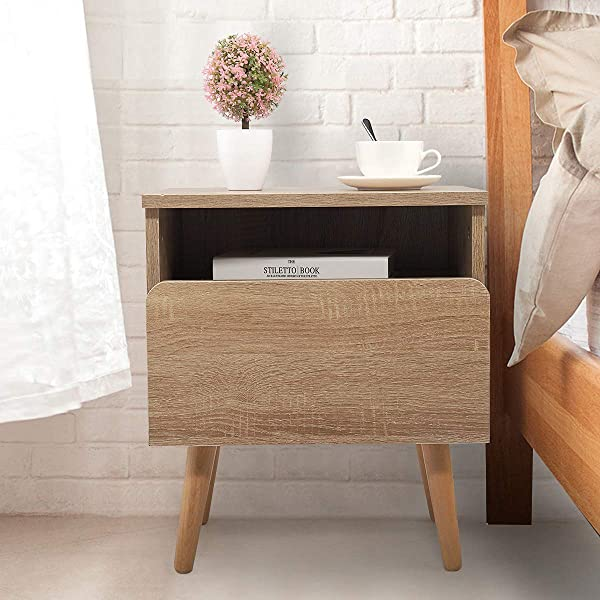 Wood Color Side End Table Nightstand W Drawer Mid Century Accent Wood Furniture