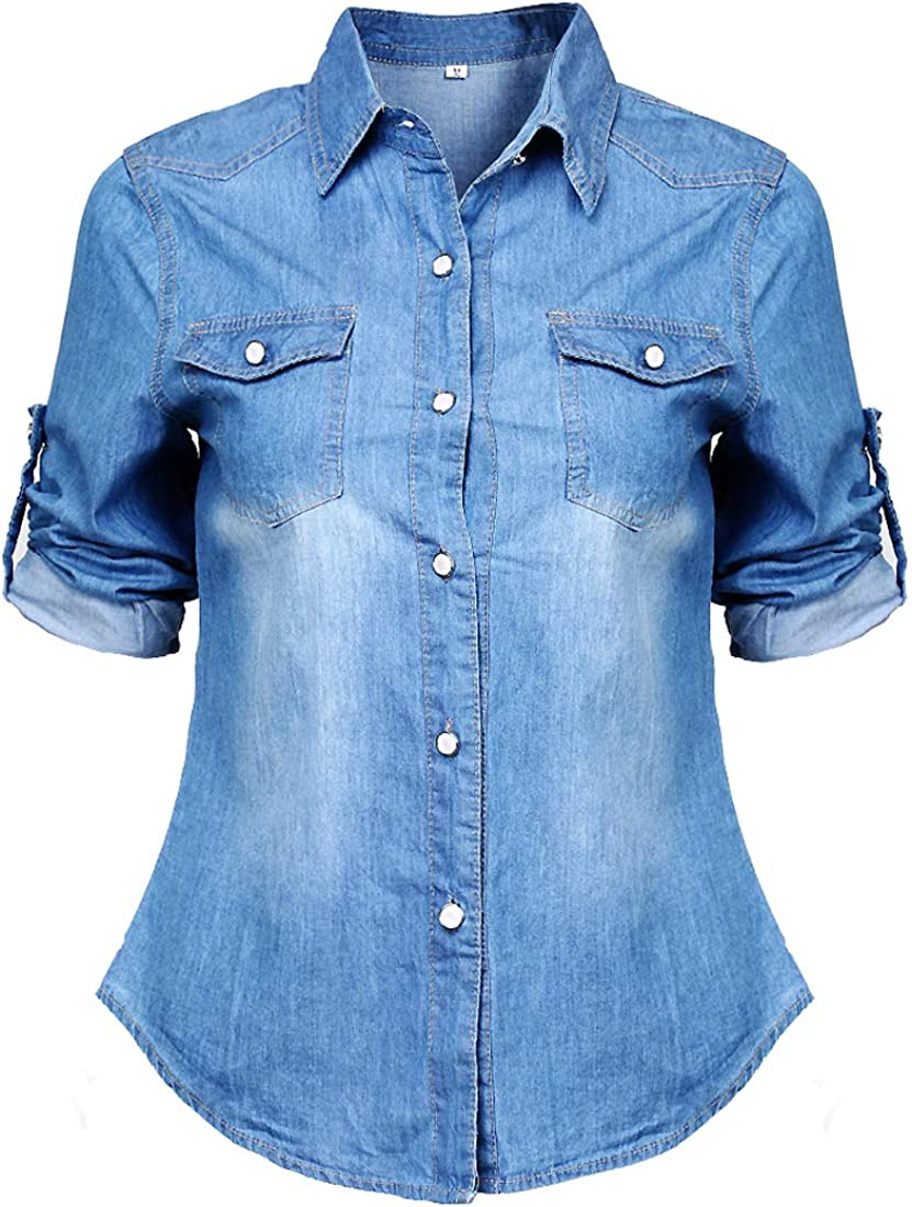 Women's Vintage Button Down Shirt, Long Sleeve Denim Blouse Roll-up Shirts Tunic Top with Pocket