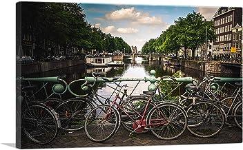 ARTCANVAS Bikes on a Bridge Canal of Amsterdam Netherlands Canvas Art Print - 40