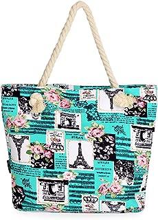 Paris Eiffel Tower Music Notes Floral Print Canvas Tote Shoulder Bag Handbag