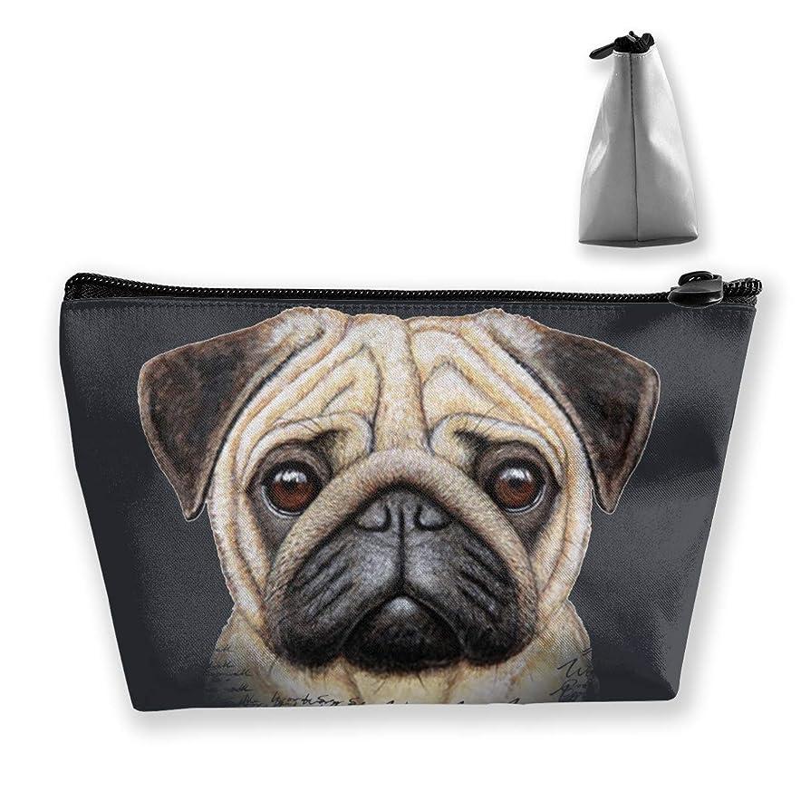 廊下恐ろしいですダウンタウンSzsgqkj パグ 犬 化粧品袋の携帯用旅行構造の袋の洗面用品の主催者