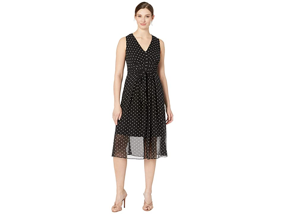 Anne Klein Printed GGT V-Neck Midi Dress (Anne Black/Anne White Combo) Women