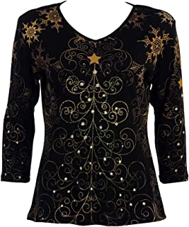 Christmas Star, Cotton Top 3/4 Sleeve V-Neck Rhinestone Accents