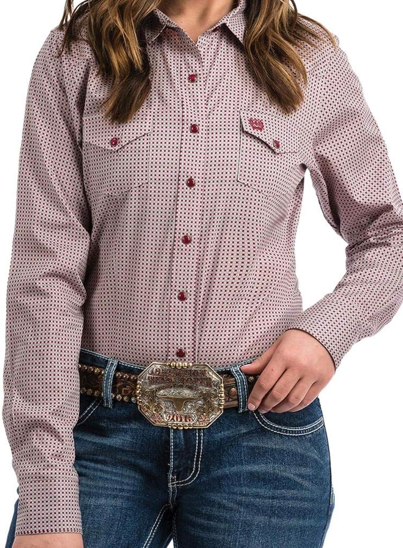Cinch Women's Square Print Western Shirt Pink