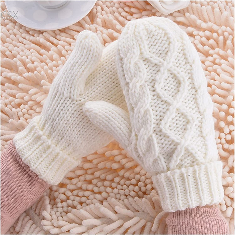 JSJJAWS Winter Gloves Warm Winter Gloves Women Mittens 8 Color Woman Ladies Lovely Knitted Gloves Girls Gift (Color : White)