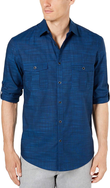 Alfani Mens Casual Shirt Deep Small Button Down Guayabera Blue S